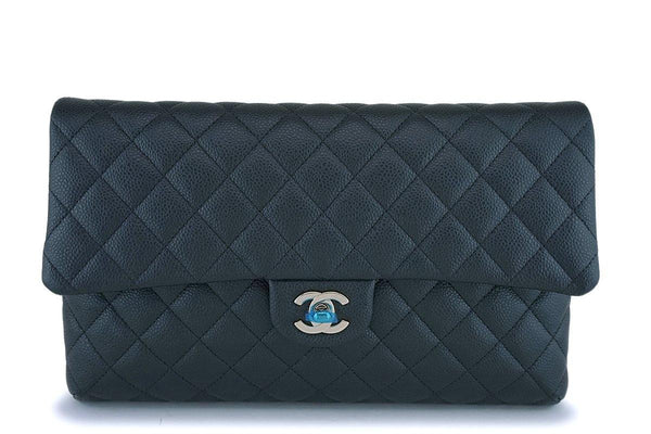 NIB 18S Chanel Iridescent Charcoal Gray Caviar Timeless Classic Clutch Bag GHW