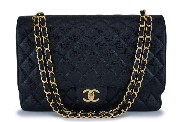 "Chanel Black Caviar Maxi ""Jumbo XL"" Classic Double Flap Bag GHW"