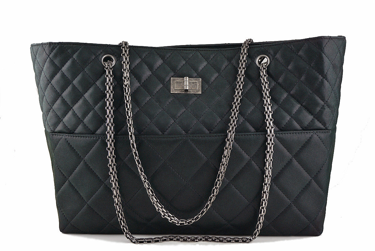 Chanel Charcoal Black Classic Large Reissue Shopper Tote Bag
