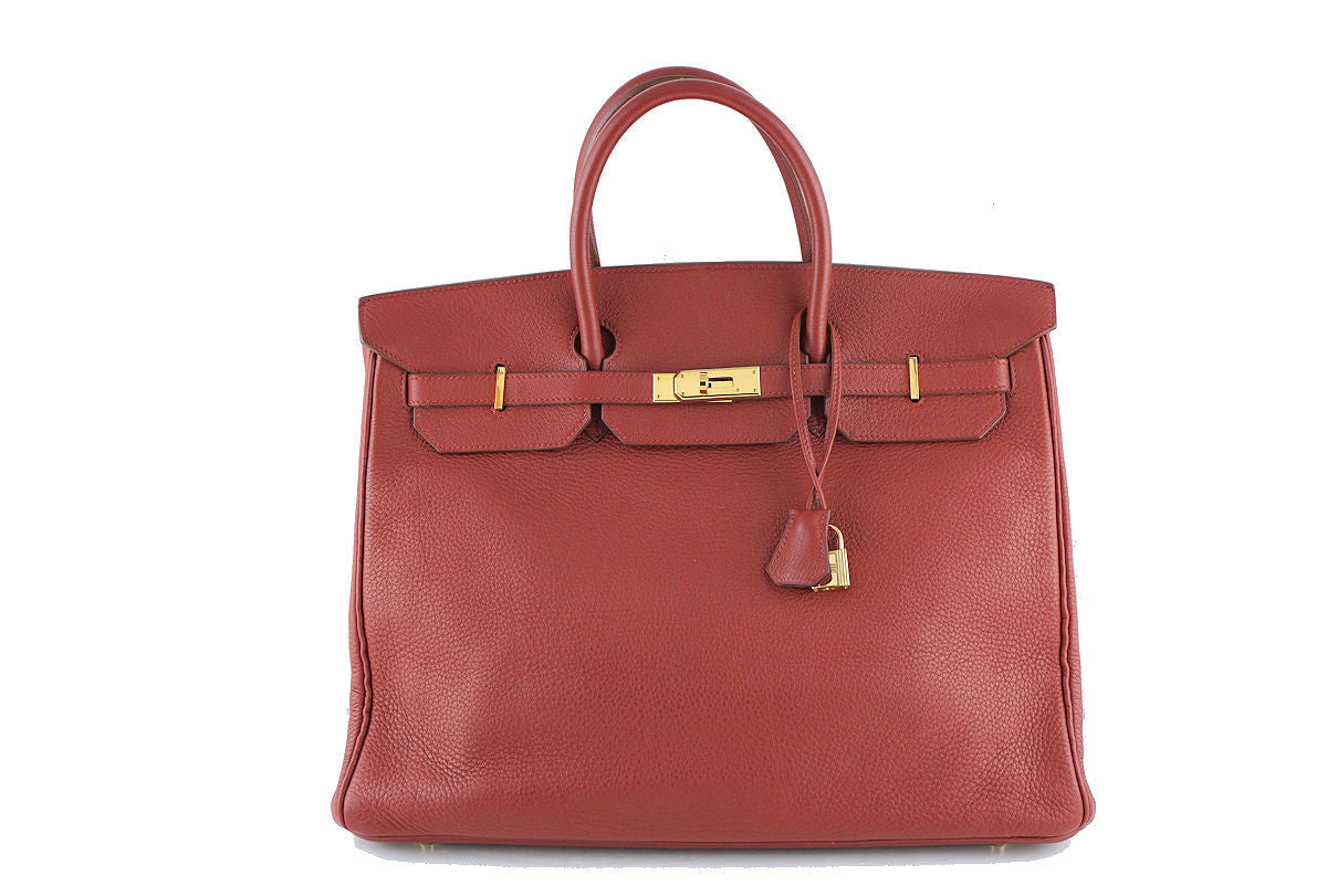 Hermes Birkin Bag, 40cm Sienna Brick Red-Brown Clemence GHW