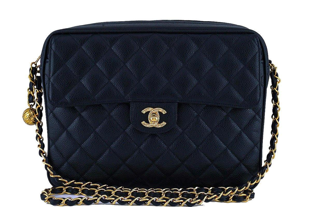Chanel Black Caviar Classic Quilted Flap Camera Purse Bag