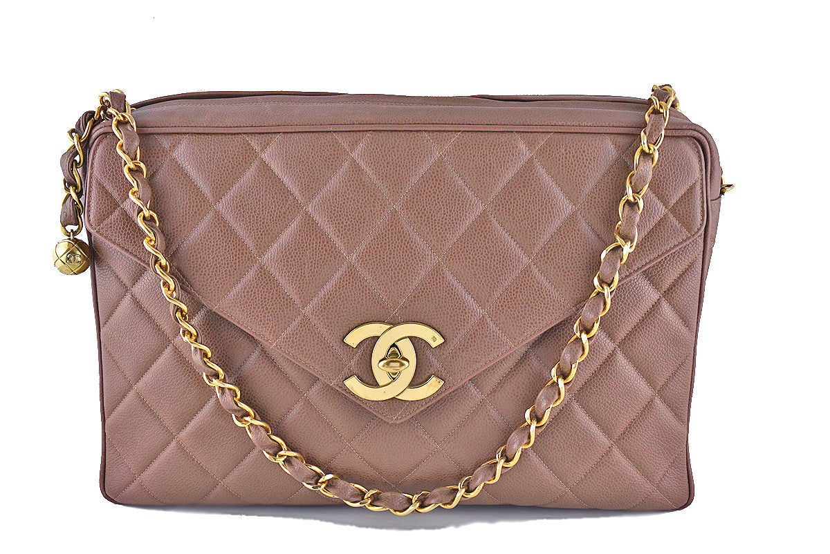 Chanel Taupe Brown Vintage Caviar Jumbo Giant Flap Classic Camera Bag - Boutique Patina  - 1