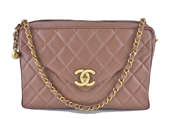 Chanel Taupe Brown Vintage Caviar Jumbo Giant Flap Classic Camera Bag