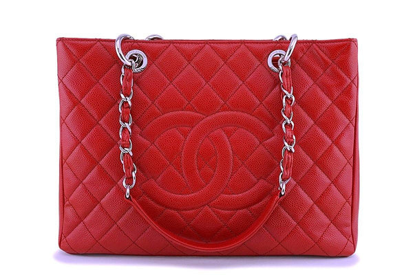 Chanel Red Caviar Classic Grand Shopper Tote GST Bag SHW