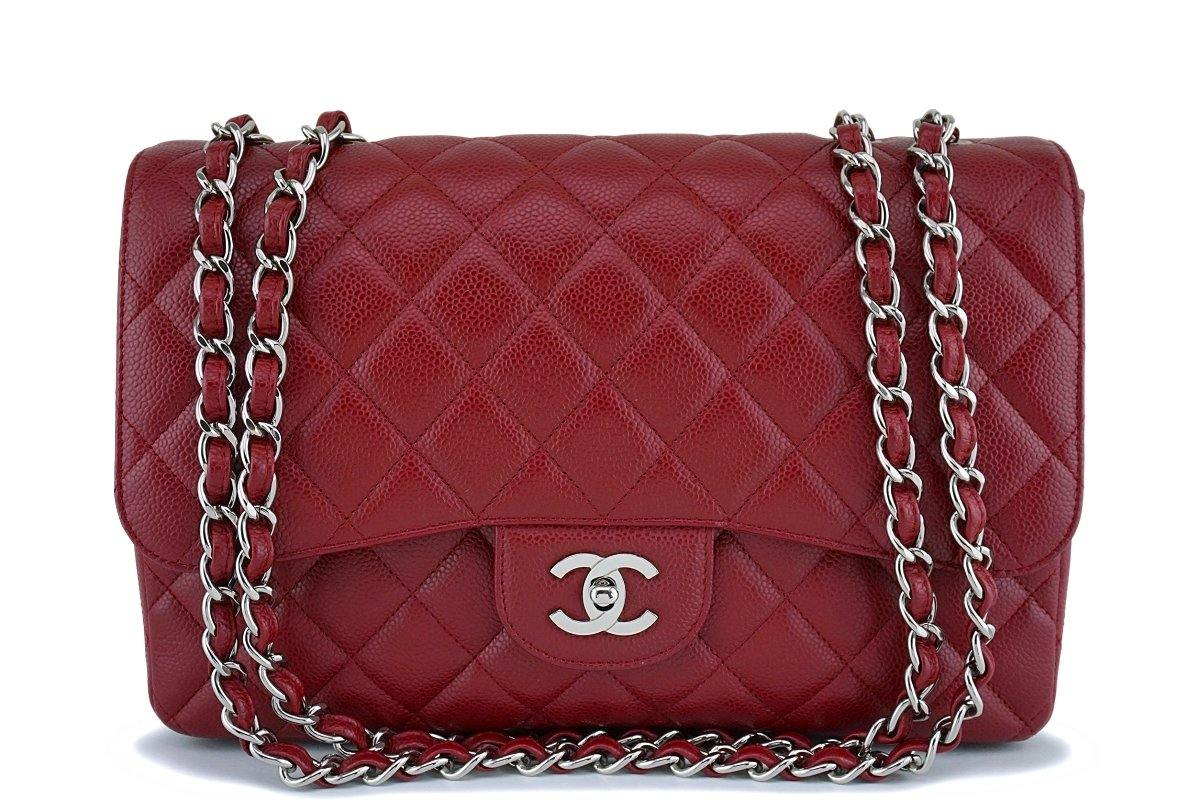 Chanel Red Caviar Large Jumbo Classic Flap Bag SHW