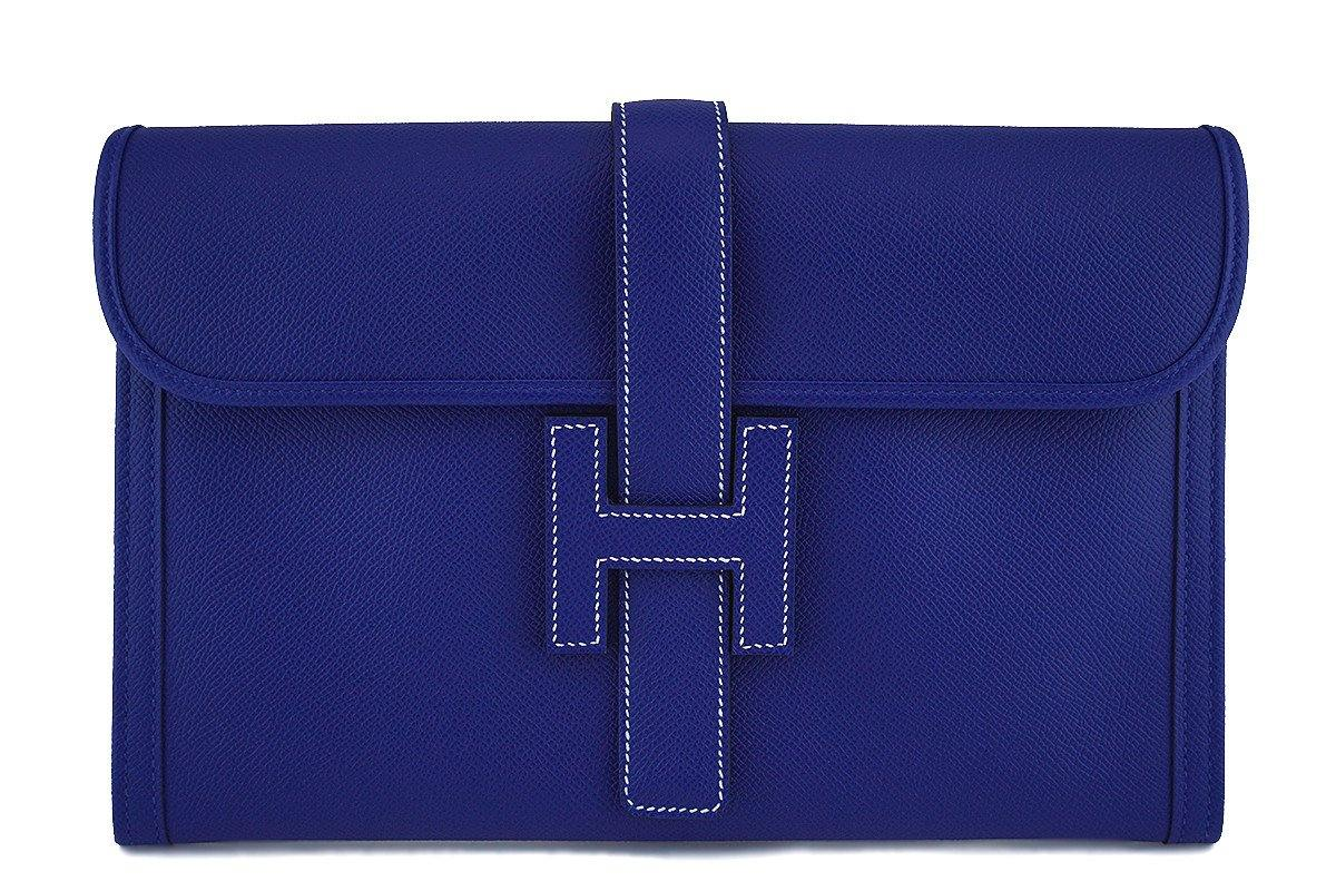 New 2017 Hermes 29cm Electric Blue Jige Clutch Bag NIB
