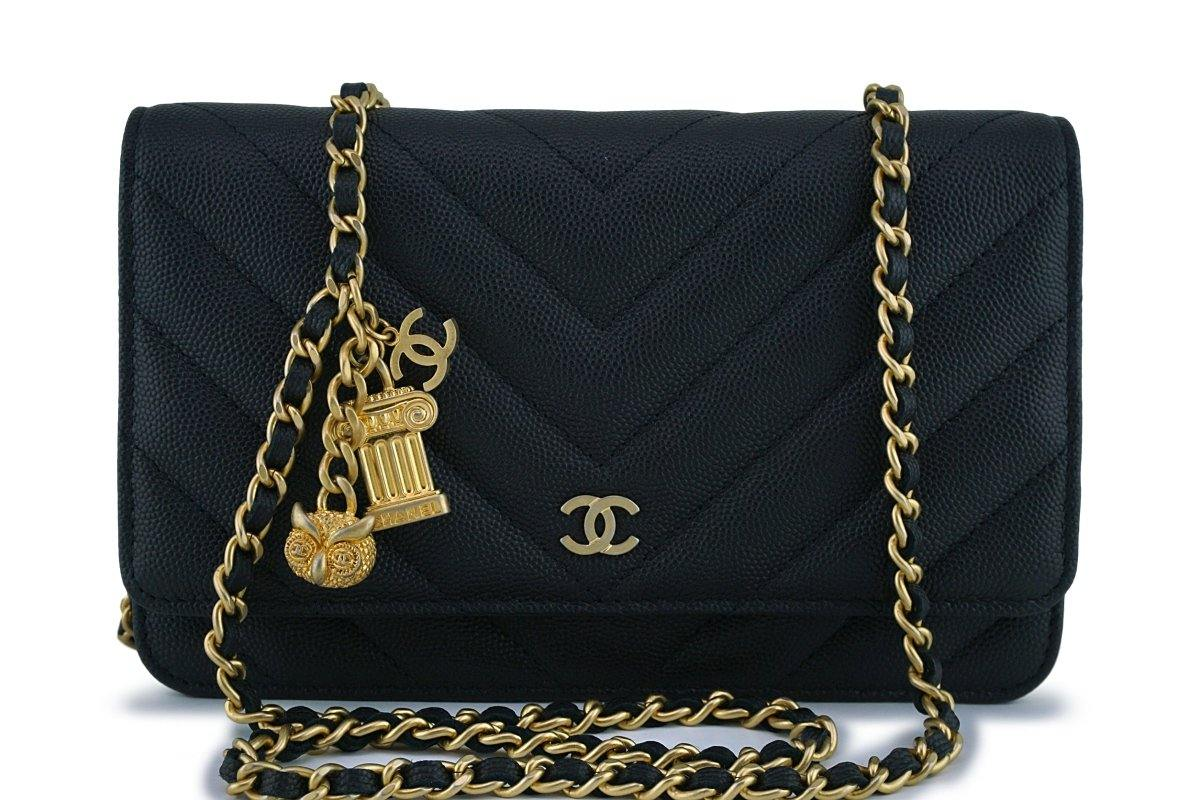 New Chanel Black Caviar Chevron Charms WOC Wallet on Chain Flap Bag