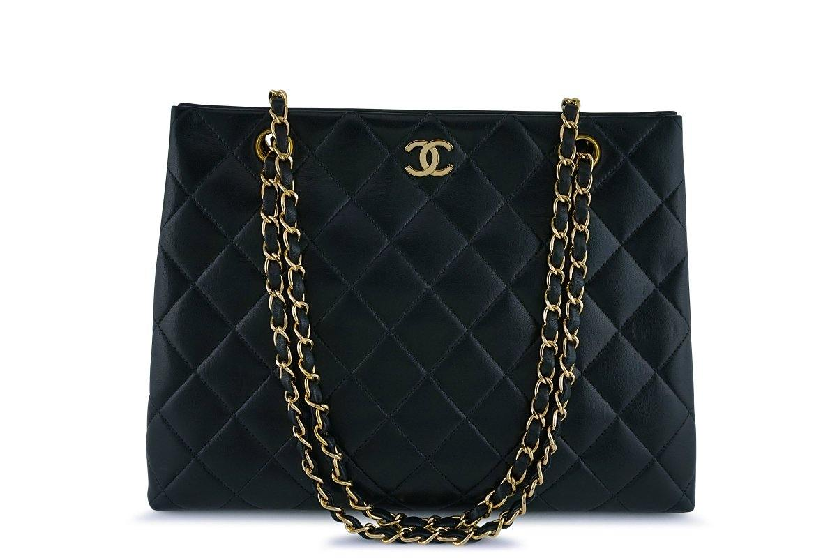 Chanel Black Classic Quilted Shopper Tote Bag GHW