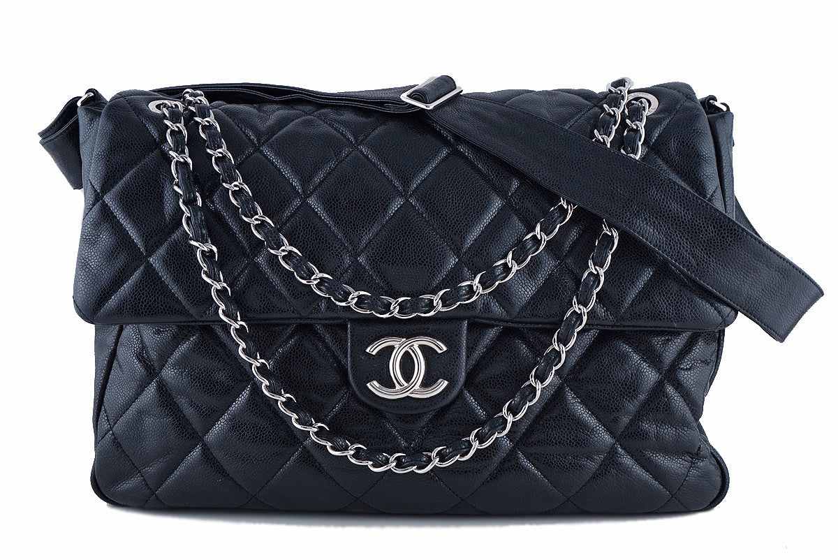 "Chanel 16"" Black Soft Caviar Bookbag XL Flap Tote Bag"