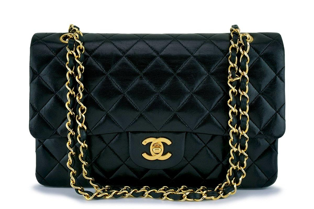 Chanel Black Medium Lambskin Classic Double Flap Bag 24k GHW