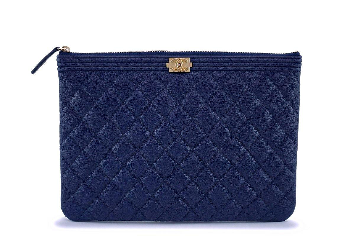NIB 19C Chanel Indigo Blue Caviar Quilted Boy O Case Clutch Pouch Bag - Boutique Patina