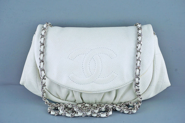 Chanel Off-White Ivory Soft Caviar Half Moon WOC Wallet on Chain Bag