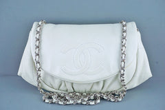 Chanel Off-White Ivory Soft Caviar Half Moon WOC Wallet on Chain Bag - Boutique Patina  - 1