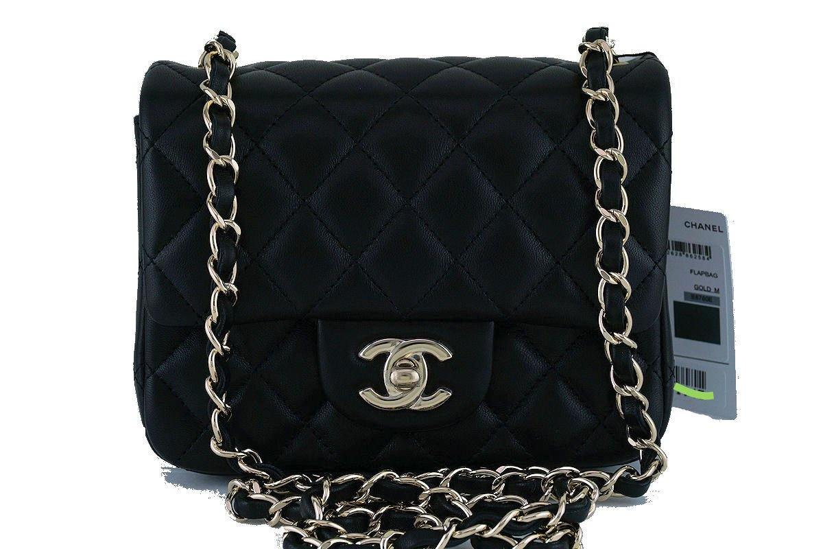 NWT Chanel Black Classic Quilted Square Mini 2.55 Flap Bag, GHW