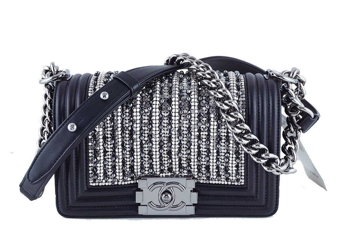 NWT Rare 15K Chanel Jeweled Small Pearls Crystals Embellished Boy Flap Bag