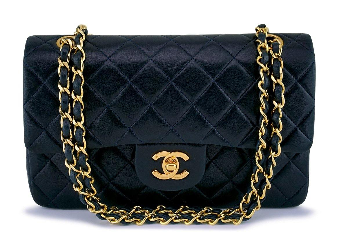 Chanel Small Blue-Black Classic Lambskin Double Flap Bag