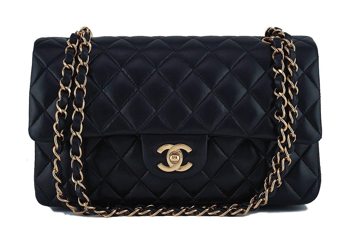 Chanel Black Lambskin Medium-Large Classic 2.55 Double Flap Bag