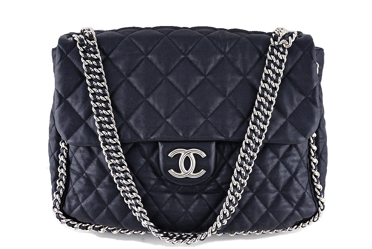Chanel Black Chain Around Maxi Luxe Flap Jumbo XL Bag