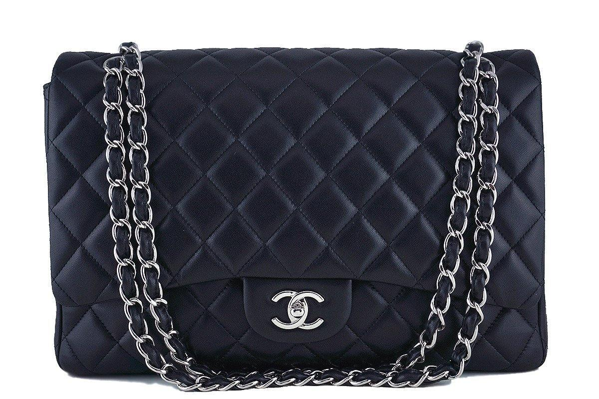 Chanel Black 13in. Maxi Quilted Classic 2.55 Jumbo XL Flap Bag SHW