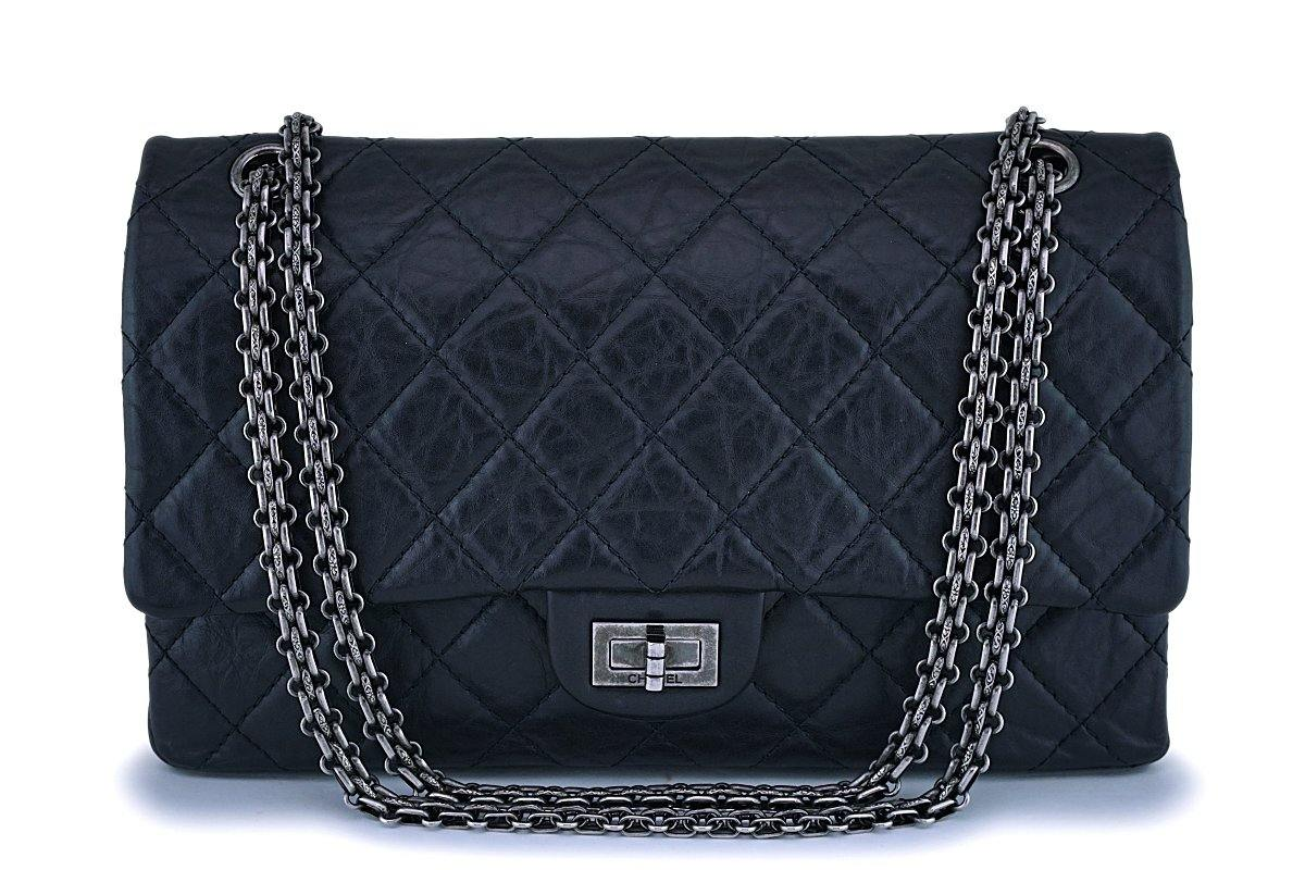 Chanel Black Reissue 2.55 Flap Bag Medium 226 Aged Calfskin RHW
