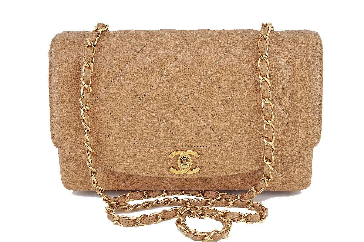 "Chanel Camel Beige Caviar Vintage Quilted Classic ""Diana"" Flap Bag"