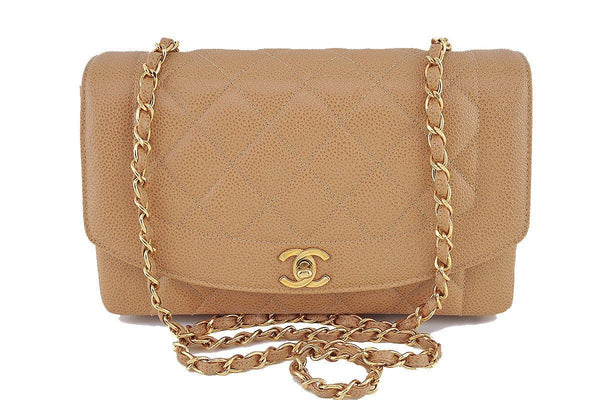266d515b2d2a Chanel Camel Beige Caviar Vintage Quilted Classic