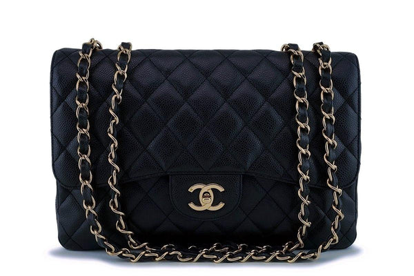 Chanel Black Caviar Jumbo Classic Flap Bag 24k GHW