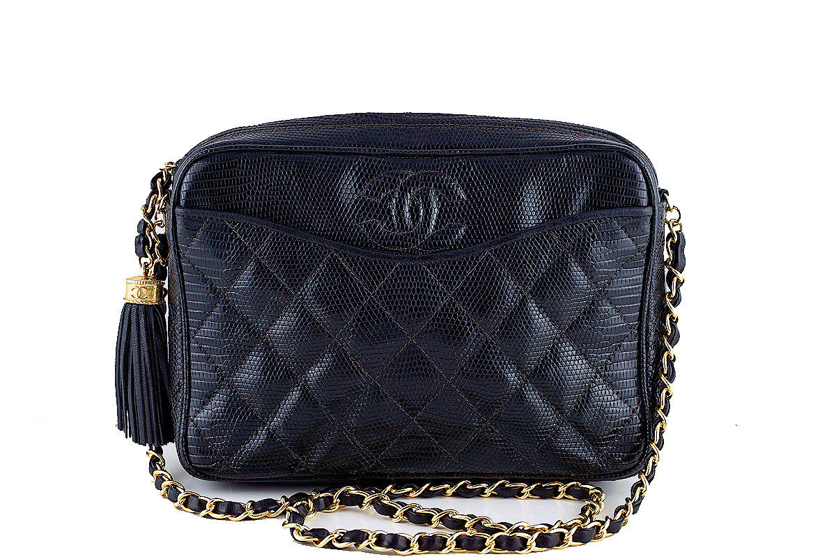 Chanel Black Lizard Classic Quilted Camera Case Bag