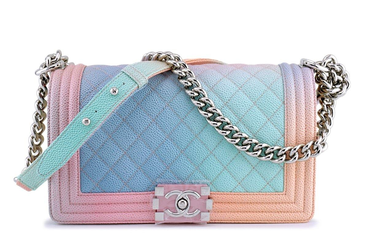 New 18P Chanel Multicolor Rainbow Caviar Medium Classic Boy Flap Bag