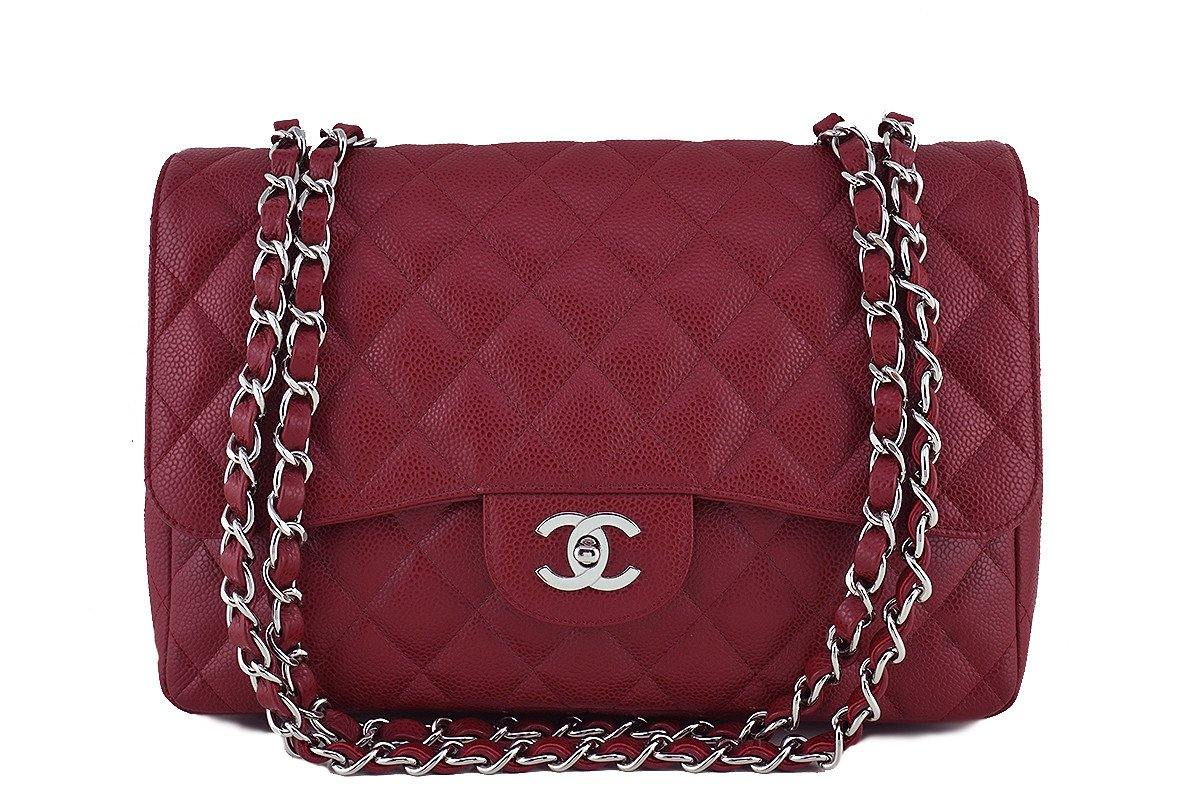 Chanel Dark Red Caviar Jumbo 2.55 Classic Flap Bag