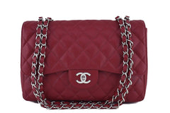 Chanel Dark Red Caviar Jumbo 2.55 Classic Flap Bag - Boutique Patina  - 1