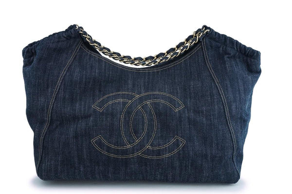Chanel Dark Blue Denim XL Giant Coco Cabas Tote Bag