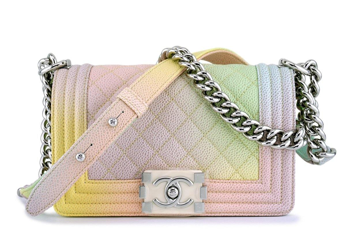 f3116a604c2a New 18P Chanel Pastel Rainbow Caviar Classic Boy Flap Bag