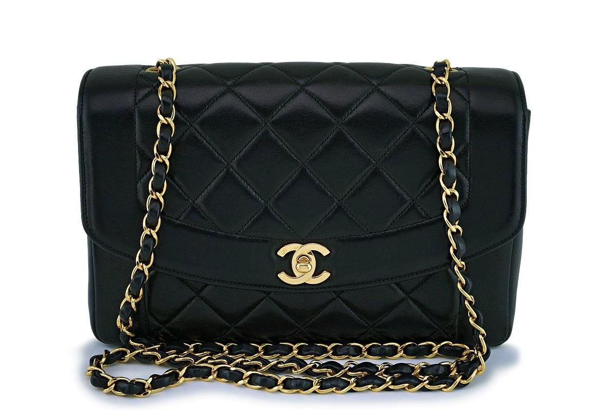 "Rare Chanel Vintage Black Medium Classic ""pocket"" Diana Flap Bag 24k GHW"