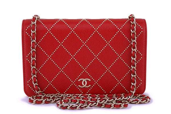 NIB 19P Chanel Red Goatskin Studded Classic Wallet on Chain WOC Flap Bag GHW