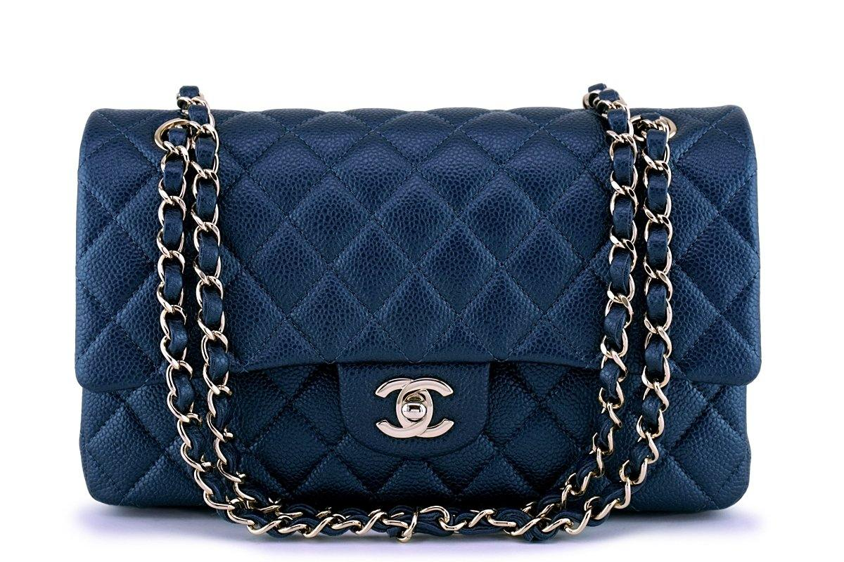 9e2f7a8c10b New 18S Chanel Pearly Navy Blue Caviar Medium Classic Double Flap Bag