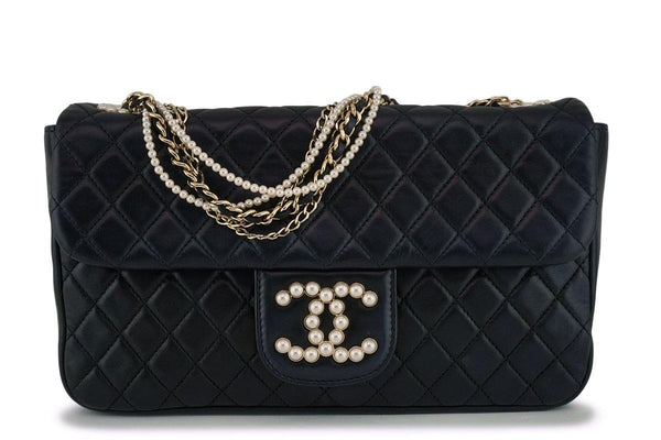 Rare Chanel Black Westminster Pearls Classic Flap Bag