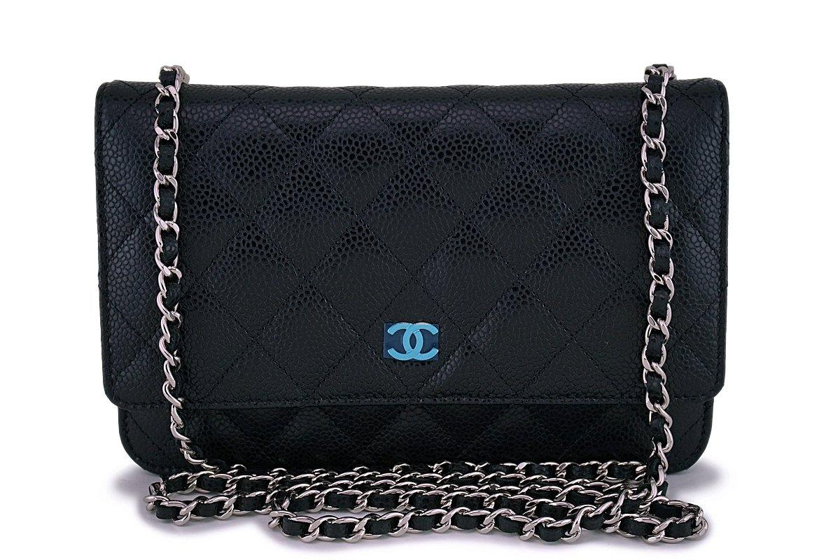 NIB Chanel Black Caviar Classic Wallet on Chain WOC Flap Bag SHW - Boutique Patina