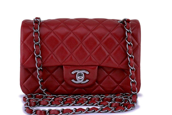 Chanel Dark Red Classic Quilted Rectangular Mini 2.55 Flap Bag