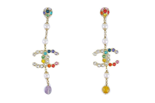 NIB 19S Chanel Rainbow Crystal Drop Earrings GHW