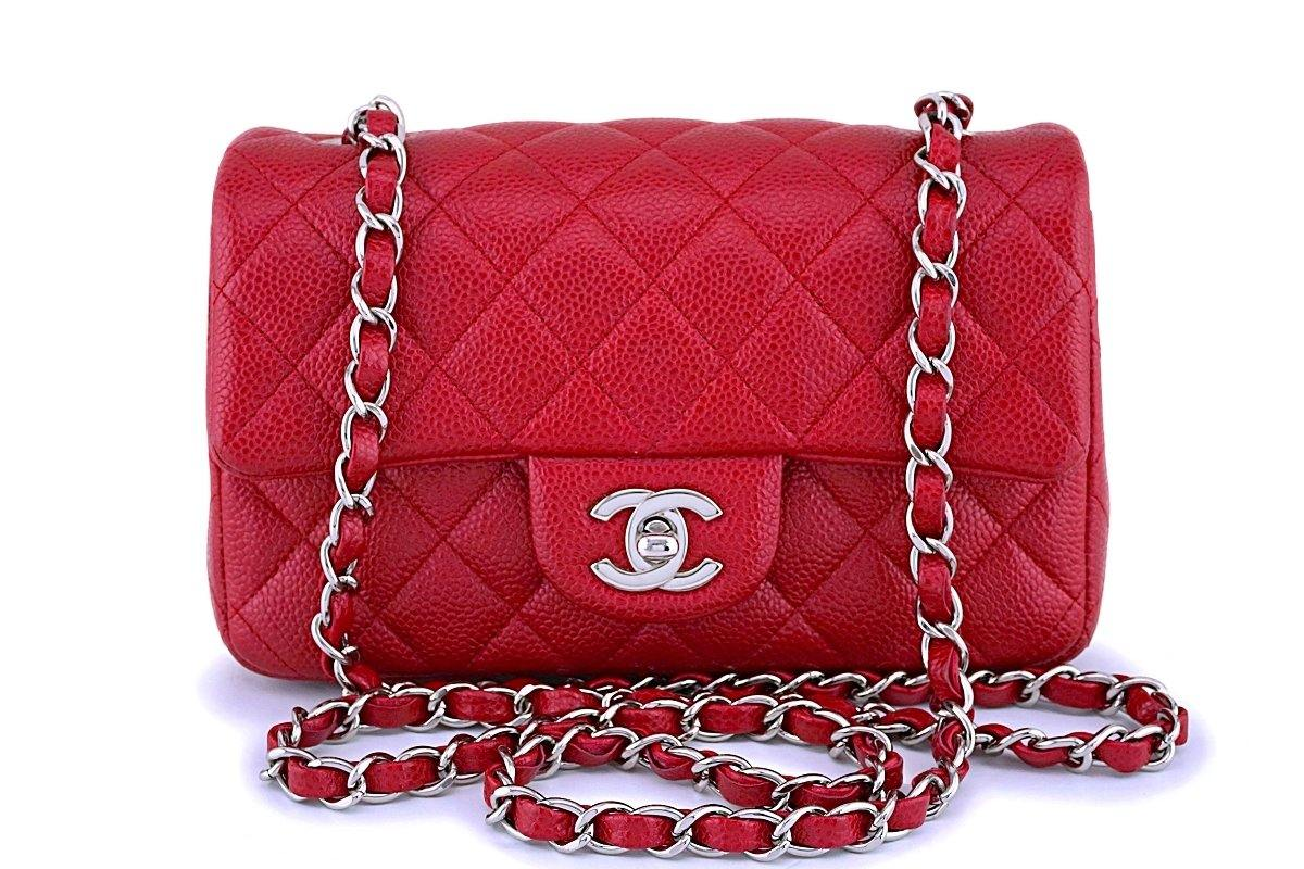Chanel Pearly Red Caviar Rectangular Mini Classic Flap Bag SHW