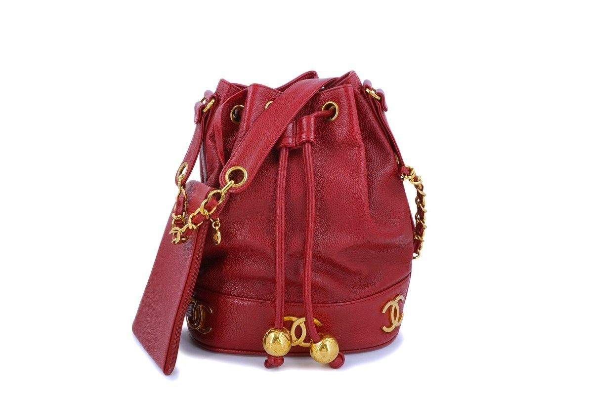 Chanel Vintage Red Caviar Drawstring Bucket Bag 24k GHW