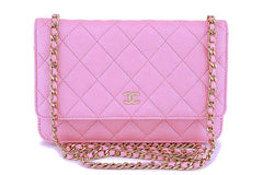 NIB 19S Chanel Iridescent Pink Caviar Classic Wallet on Chain WOC GHW