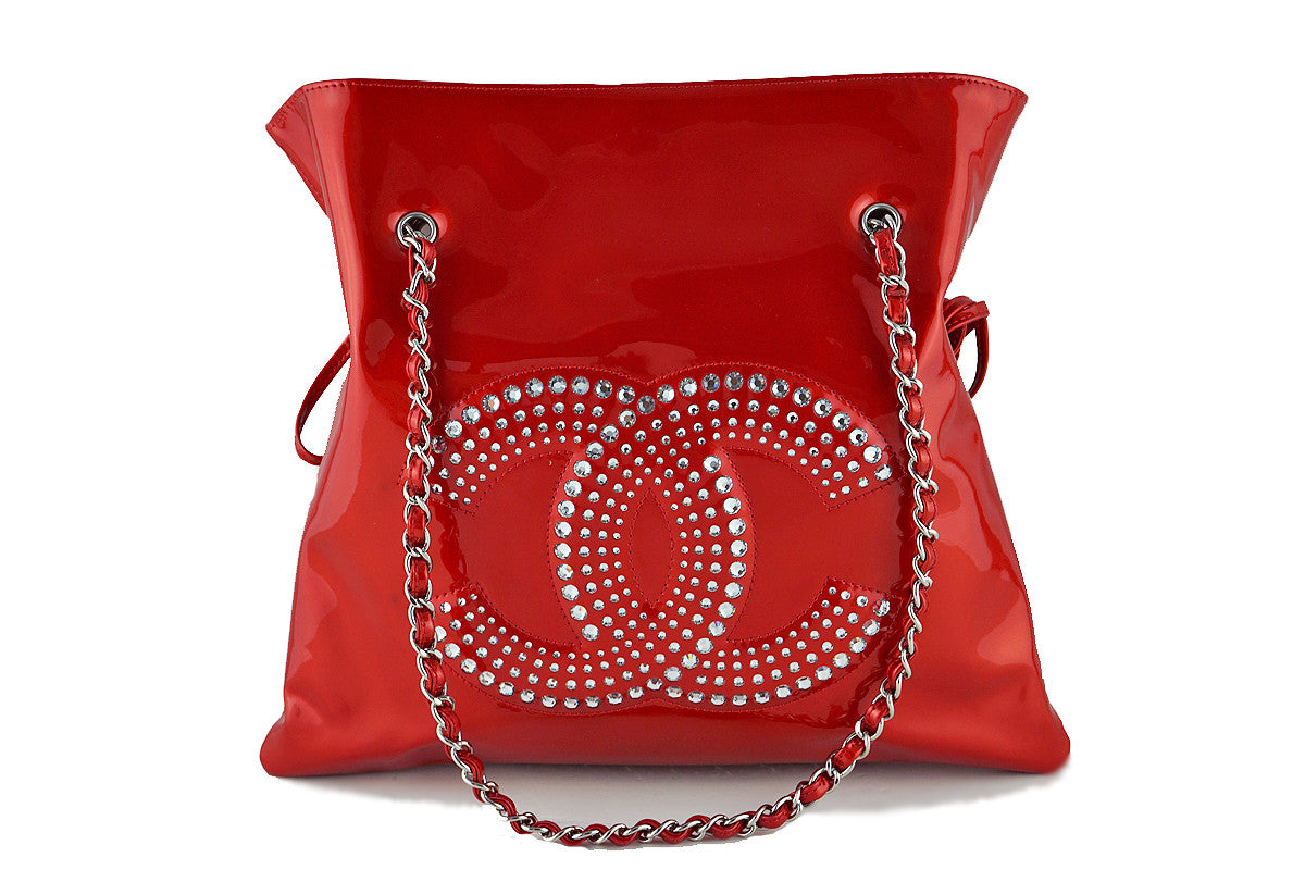 31dfdee214aa Chanel Red Patent Strass Crystals Bon Bons Shopper Tote Bag
