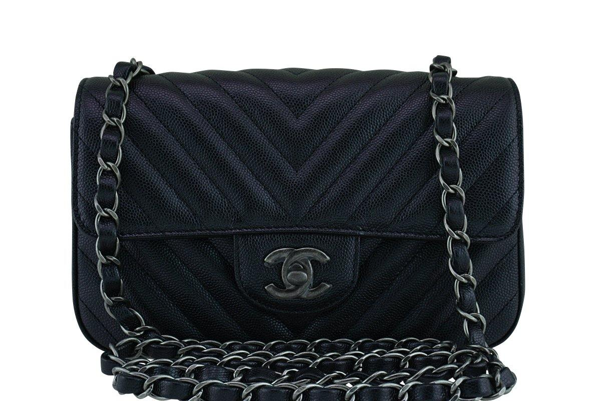 New 17B Chanel Iridescent Black Chevron Caviar Classic Mini 2.55 Flap b4c5c7be0