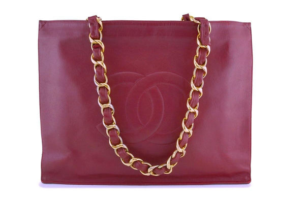 Chanel Red Vintage Calfskin Chunky Chain Tote Bag 24k GHW