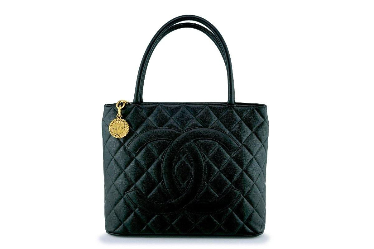 Chanel Black Timeless Classic Caviar Medallion Tote Bag GHW