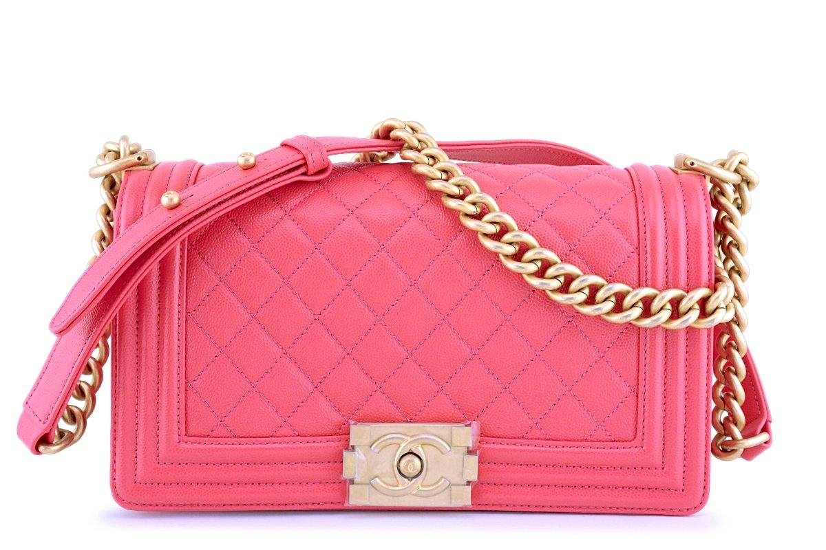 New 18S Chanel Pink Caviar Medium Classic Boy Flap Bag GHW