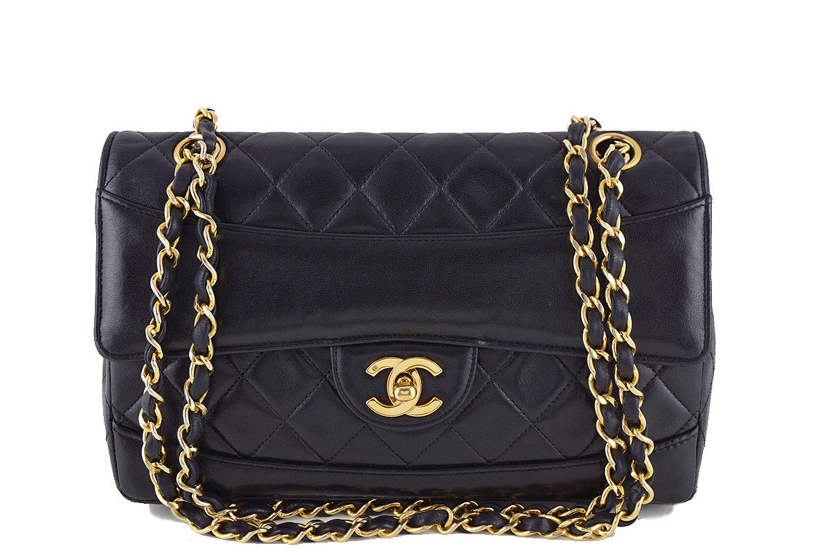 Chanel Black Vintage Quilted Classic 2.55 Flap Bag and Wallet