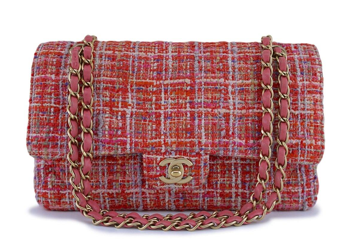 Chanel Coral Red Tweed Medium Classic 2.55 Flap Bag